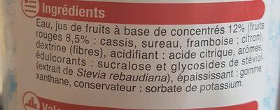 Sirop à la grenadine 0% de sucre sans aspartame - Ingredients