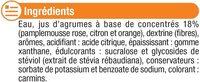Boisson concentré agrumes zéro de sucre avec edulcorants - Ingredients