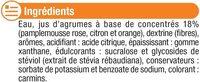 Boisson concentré agrumes zéro de sucre avec edulcorants - Ingrediënten