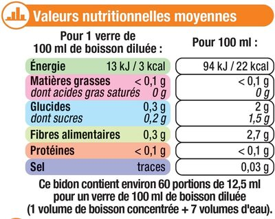 Boisson concentré agrumes zéro de sucre avec edulcorants - Nutrition facts
