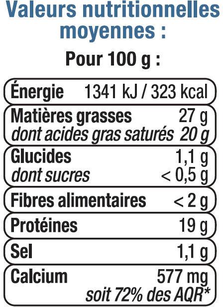 Fromage au lait de brebis pasteurisé 25% de MG - Nutrition facts - fr