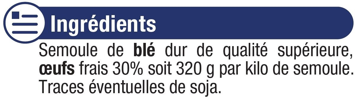 Pâtes aux oeufs macaroni IGP d'Alsace - Ingrediënten