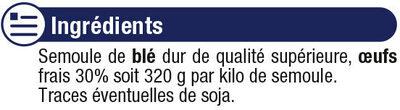 Torsades IGP d'Alsace aux oeufs - Ingrediënten