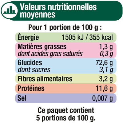 Macaroni qualité supérieure - Informations nutritionnelles - fr