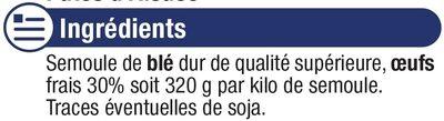 Pâtes aux oeufs Späetzle IGP d'Alsace - Ingrediënten