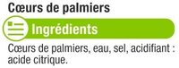 Coeurs de Palmier entier - Ingredients