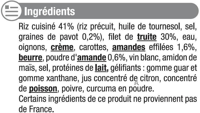 Filet de truite aux amandes et son riz au pavot - Inhaltsstoffe - fr