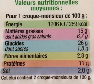 Coque-Monsieur Chèvre - Informations nutritionnelles - fr