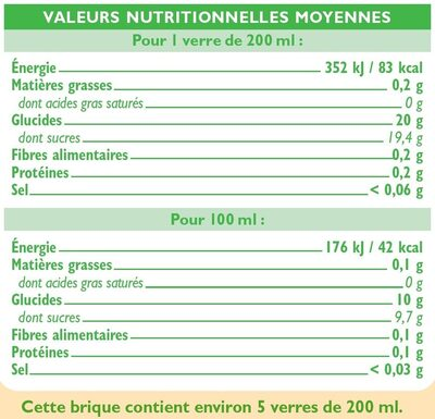 Pur jus réfrigéré pomme - Voedingswaarden - fr