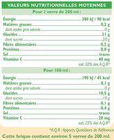 Pur jus d'orange sans pulpe - Informations nutritionnelles - fr