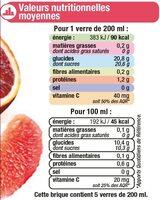 Cocktail d'agrumes orange, orange sanguine, pamplemousse rose - Voedingswaarden - fr