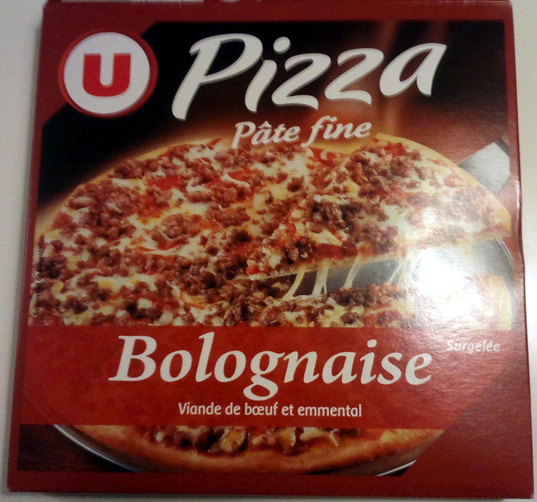 pizza surgel e p te fine bolognaise viande de boeuf et emmental u 330 g. Black Bedroom Furniture Sets. Home Design Ideas