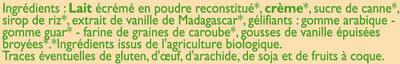 Crème glacée à la vanille de Madagascar - Ingredients