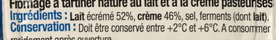 Fromage nature à tartiner (25,1% MG) - Ingredients - fr