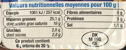 Fromage nature à tartiner (25,1% MG) - Voedigswaarden