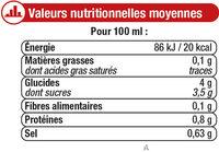 Pur Jus de Tomate - Nutrition facts