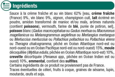Coquilles de poisson et fruits de mer - Ingrédients