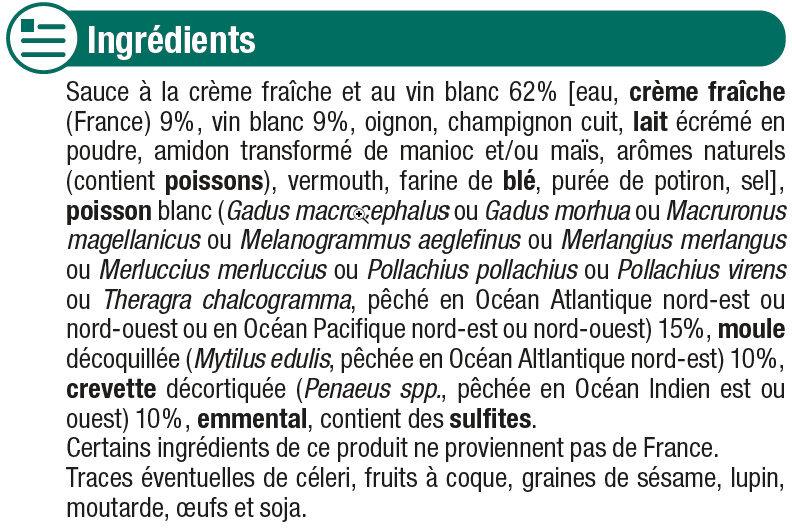 Coquilles de poisson et fruits de mer - Ingrédients - fr