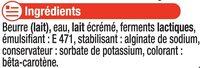 """Beurre doux à teneur réduite en matière grasse """"Ma Prairie"""" 60% deMG - Ingrédients - fr"""