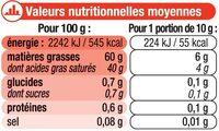 """Beurre doux à teneur réduite en matière grasse """"Ma Prairie"""" 60% deMG - Informations nutritionnelles"""