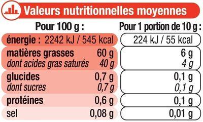 """Beurre doux à teneur réduite en matière grasse """"Ma Prairie"""" 60% deMG - Informations nutritionnelles - fr"""
