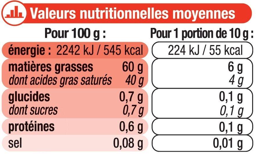 Beurre doux à teneur réduite en matière grasse - Informations nutritionnelles - fr