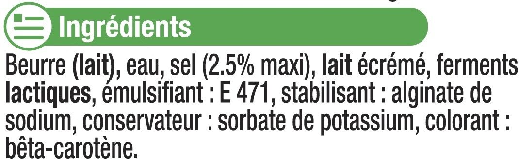 """Beurre demi-sel à teneur réduite en matière grasse """"Ma Prairie"""" 60%de MG - Ingredients"""