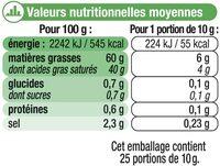 """Beurre demi-sel à teneur réduite en matière grasse """"Ma Prairie"""" 60%de MG - Nutrition facts"""
