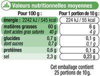 Beurre demi-sel à teneur réduite en matière grasse - Informations nutritionnelles - fr