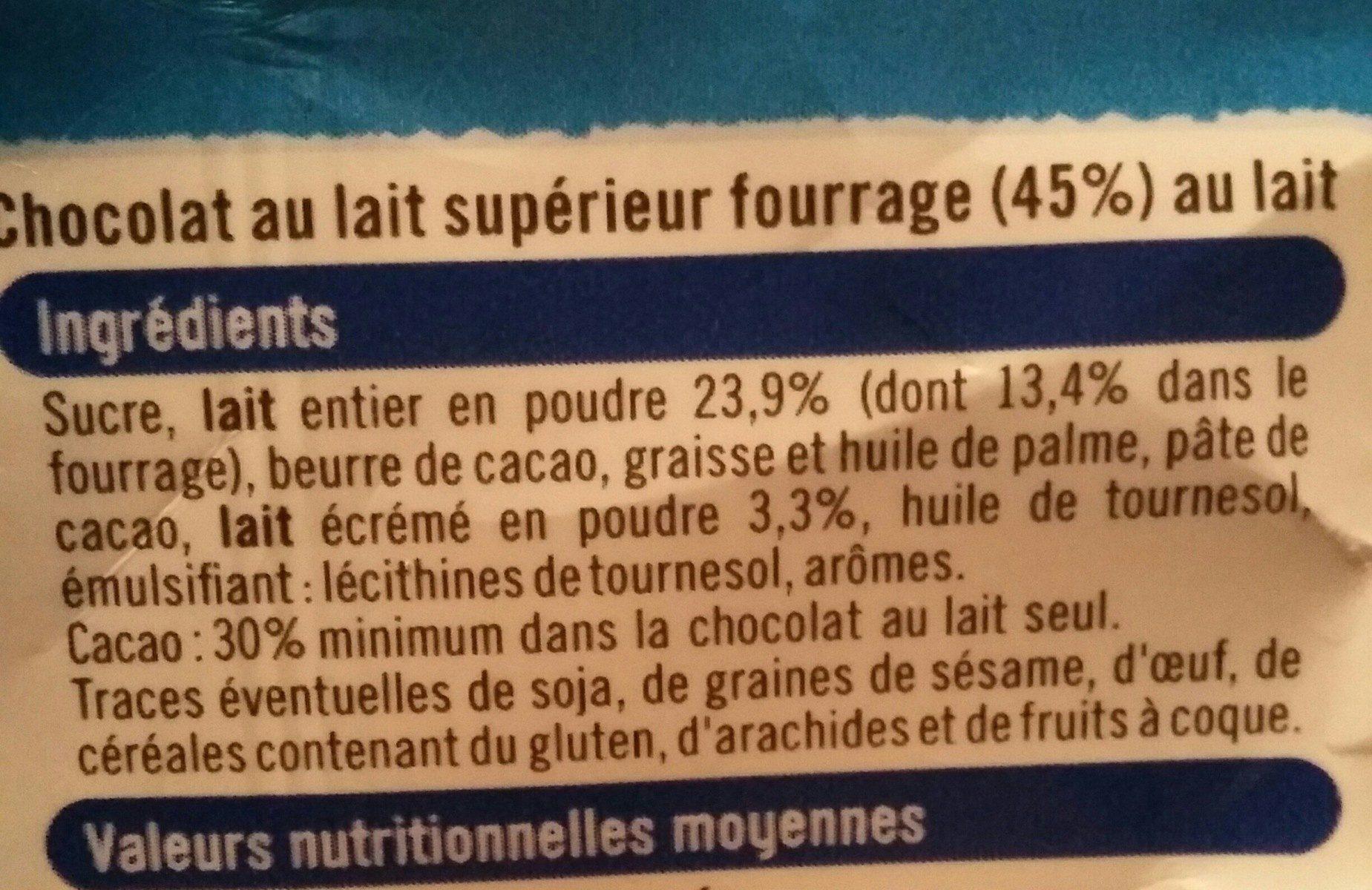 Chocolat lait fourré lait - Ingrédients - fr