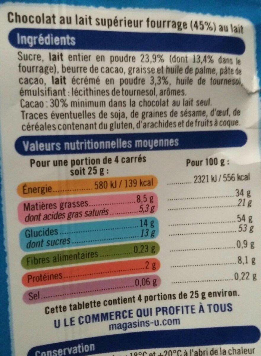 Chocolat lait fourré lait - Informations nutritionnelles - fr