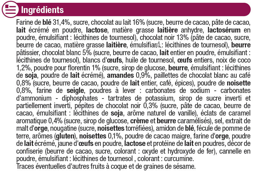 Assortiment biscuits Patissiers - Ingredients