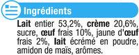 Petits pots de crème aux oeufs frais, desserts lactés saveur vanille - Ingredients