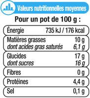 Petits pots de crème aux oeufs frais, desserts lactés saveur vanille - Nutrition facts