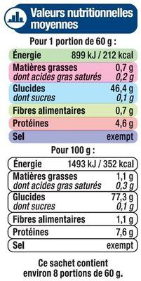 Riz long thaï - Informations nutritionnelles - fr