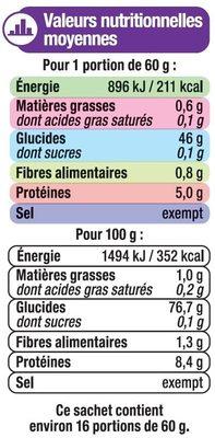 Riz long Basmati - Informations nutritionnelles