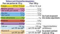 Yaourt brassé nature - Informations nutritionnelles - fr
