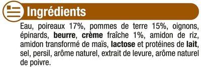 Velouté poireaux et pommes de terre - Ingrediënten - fr