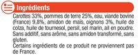 Assiette mijoté de carottes et boeuf - Inhaltsstoffe - fr