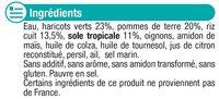Assiette haricots verts, riz et sole tropicale - Zutaten - fr
