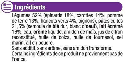 Assiette soir printanière de légumes et pâtes - Inhaltsstoffe - fr