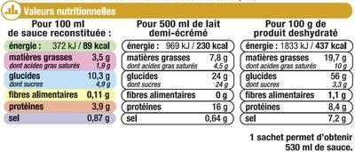 Sauce déshydratée béchamel - Nutrition facts - fr