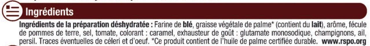 Sauce déshydratée Chasseur - Ingrediënten - fr