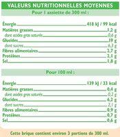 Velouté 7 légumes bio - Informations nutritionnelles