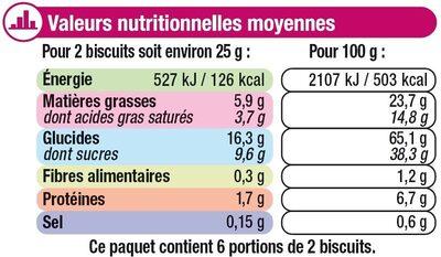 Petit beurre chocolat blanc - Voedingswaarden - fr