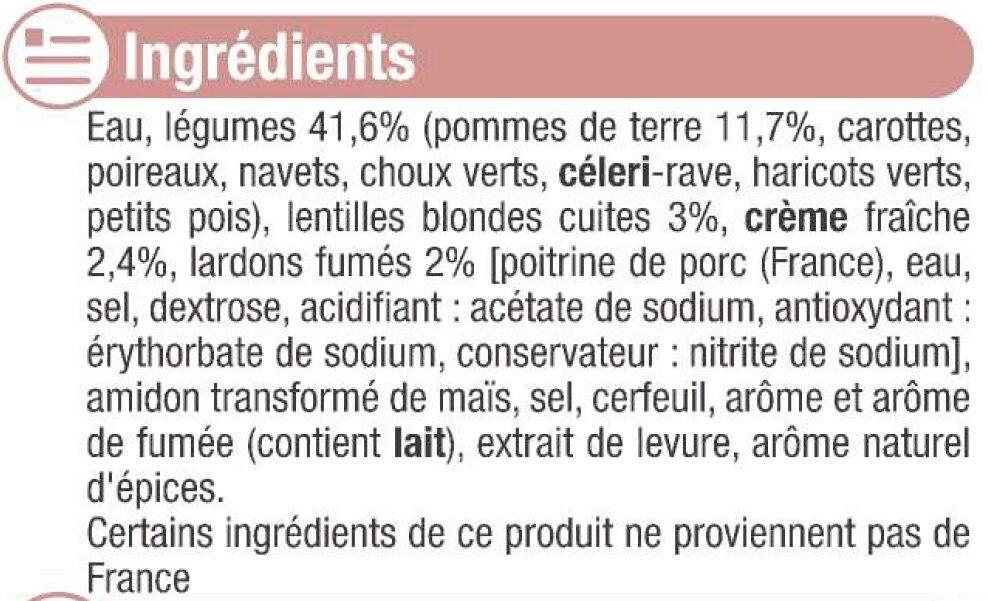 Mouliné campagnard aux lardons - Ingrédients