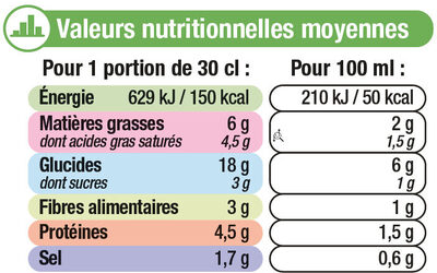 Velouté Légumes Verts et Comté - Nutrition facts - fr