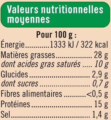Terrine de campagne Bio - Informations nutritionnelles - fr