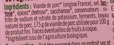 Saucisse sèche courbe pur porc - Ingrédients - fr