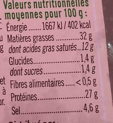 Saucisse sèche courbe pur porc - Informations nutritionnelles - fr